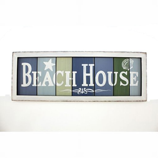 wood sign reads beach house
