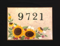hand painted house address sign sunflowers