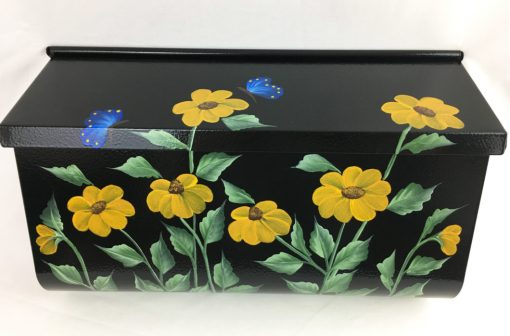 hand painted mailbox with black eyed susans