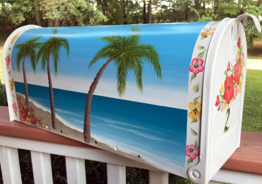 hand painted mailbox beach and hibiscus