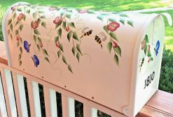 hand painted mailbox decorative flowers butterflies bees