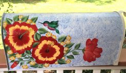 hand painted mailbox with hibiscus flowers and hummingbird