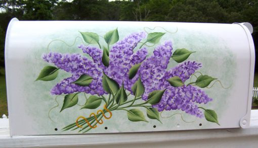 hand painted mailboxes with lilacs flowers