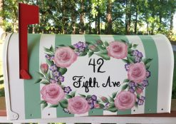 hand painted mailbox with rose oval