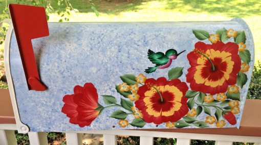 hand painted mailbox with hibiscus flowers and humingbird