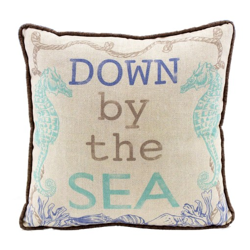 nautical seahorse throw pillow