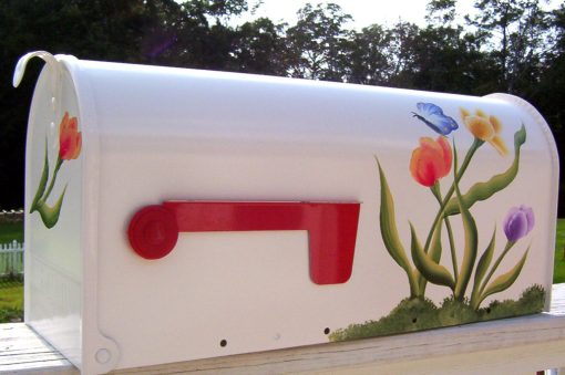 painted mailboxes tulips