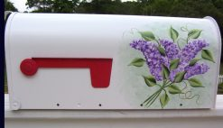 painted mailboxes with lilacs