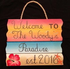 custom hand painted welcome to paradise sign with sunset