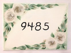 white cottage roses house address plaque