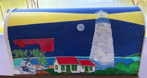 nighttime lighthouse scene hand painted mailbox