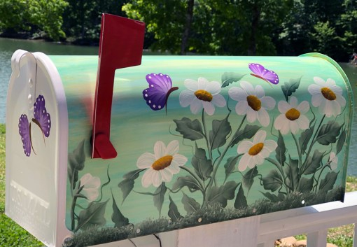 Hand Painted Mailbox with daisies and purple butterflies