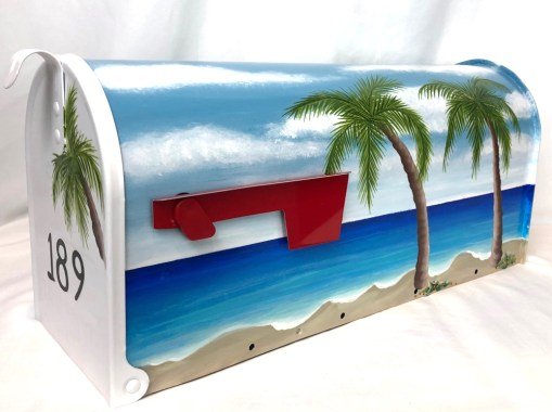 palm trees on ocean beach mailbox