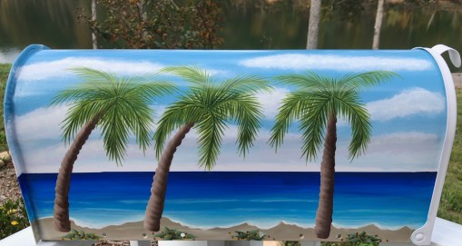 hand painted palm tree beach mailbox