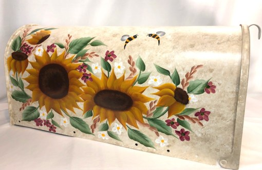 country sunflowers on beige with bumble bees