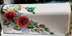 hand painted mailboxes roses and hummingbird