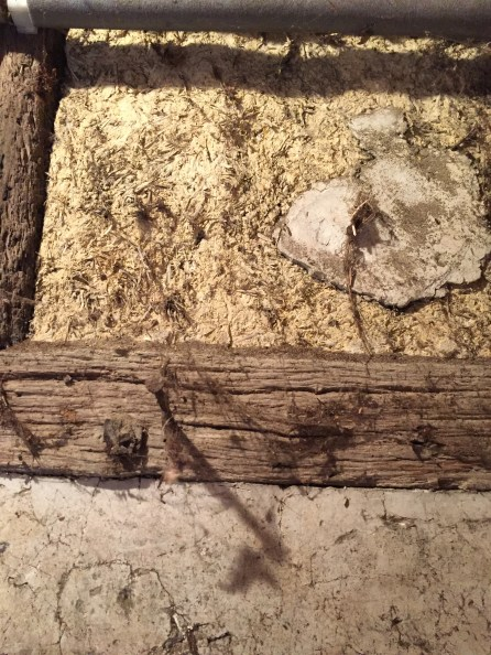 A section of daub infill in an unrestored part of the outshot of No.3