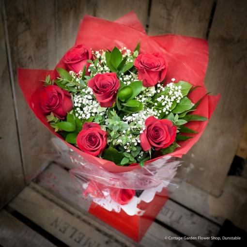 Six Rose Hand Tied