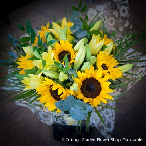 Sunflower & Lily Hand Tied