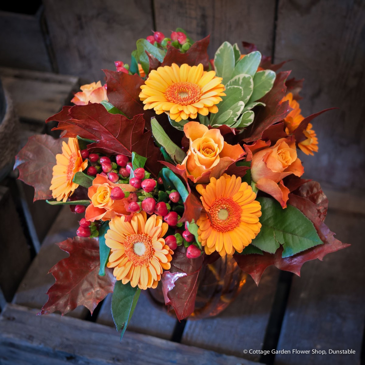 Autumn Rose & Germini Vase