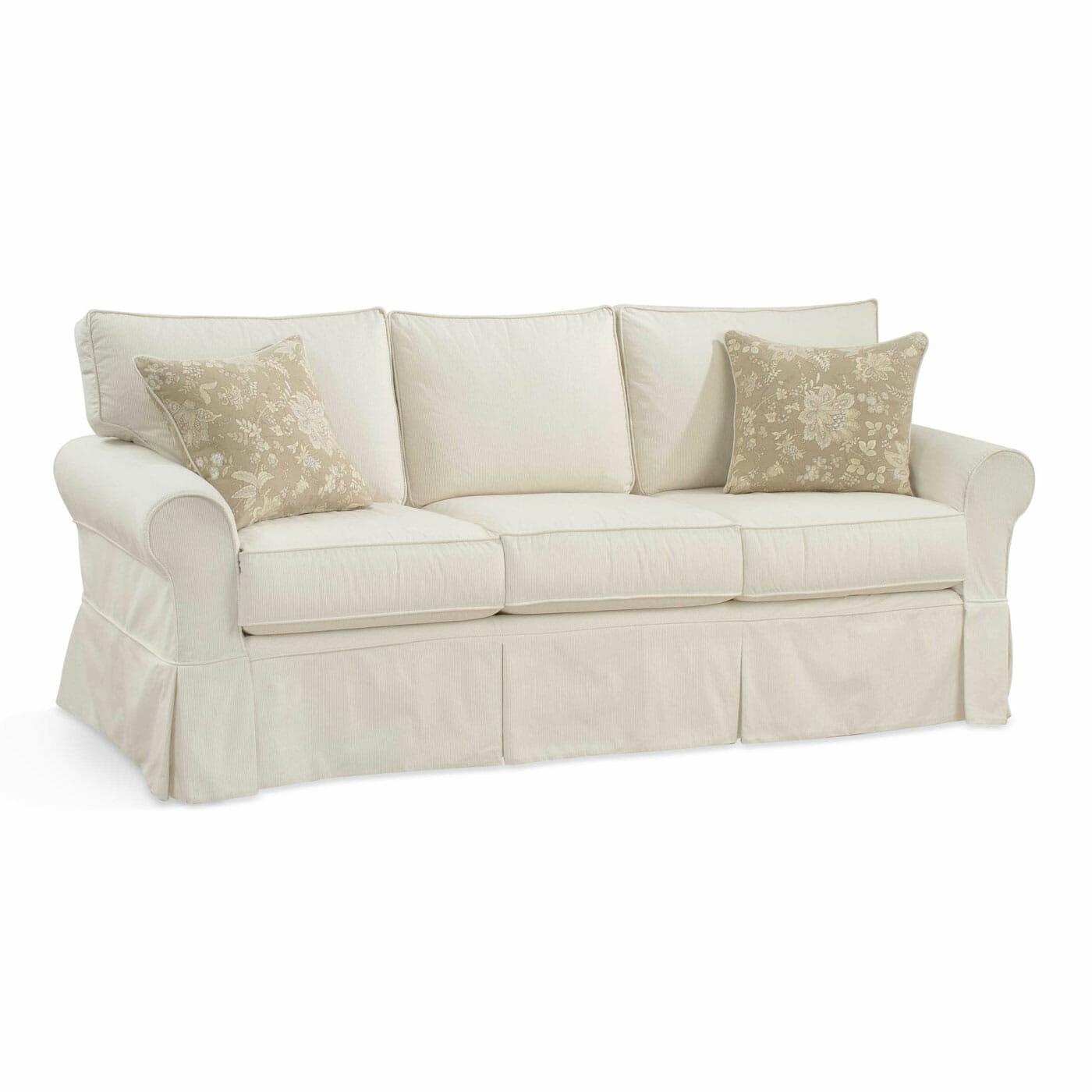 camden sofa bed black leather recliner set slipcovered cottage home