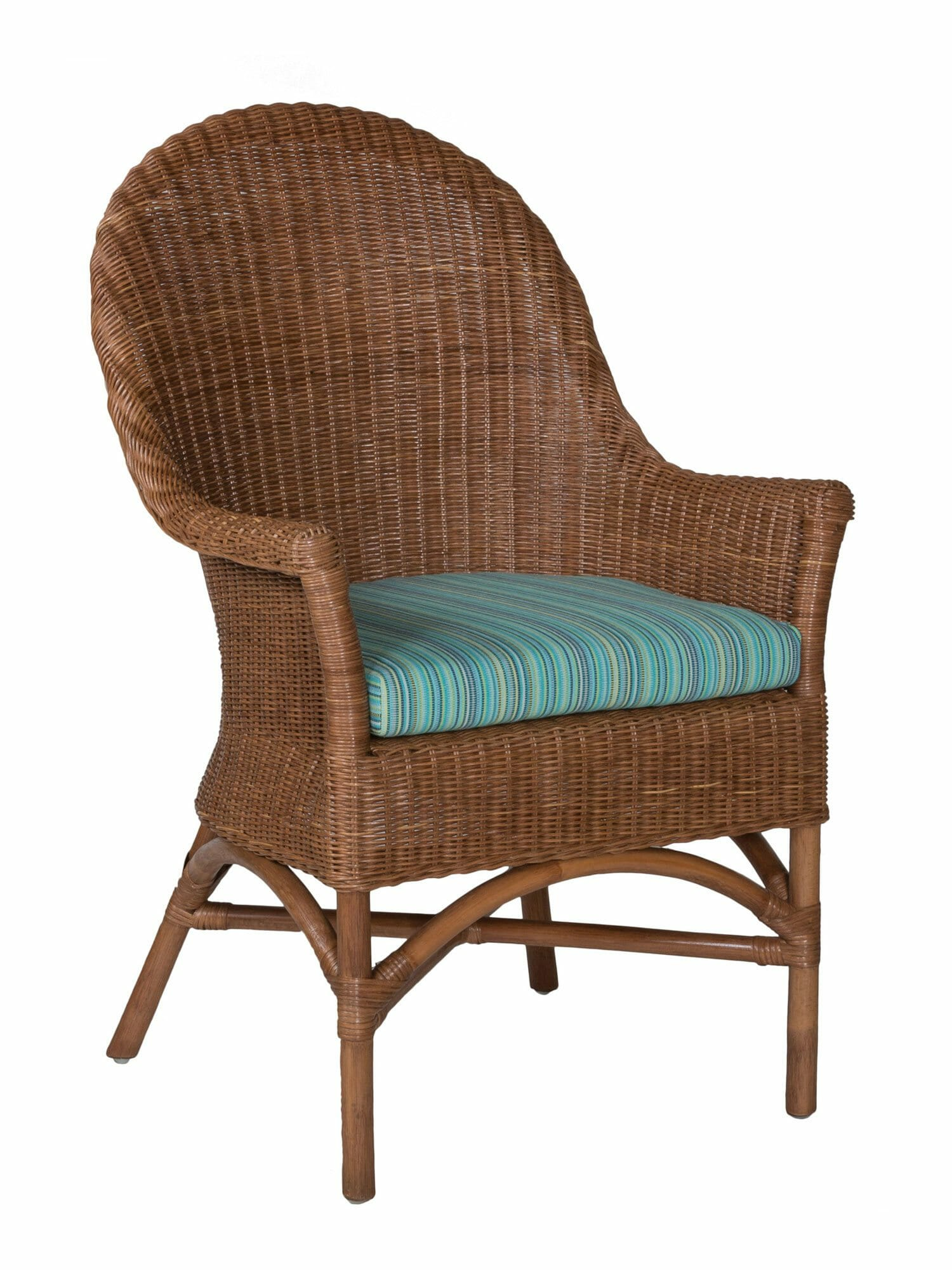 The chair is available in its original bent oak and natural seat as well as in other modern variations. West Palm Wicker Dining Arm Chair | Custom Furniture
