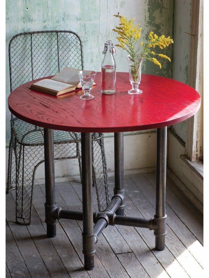 Studio Round Wood Top Metal Pipe Pedestal Table  Cottage