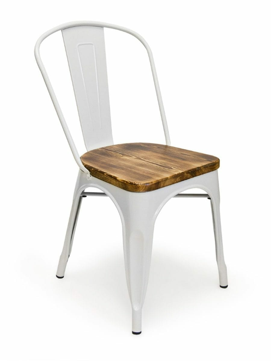 Metal Bistro Wood Seat Chair White  Cottage Home