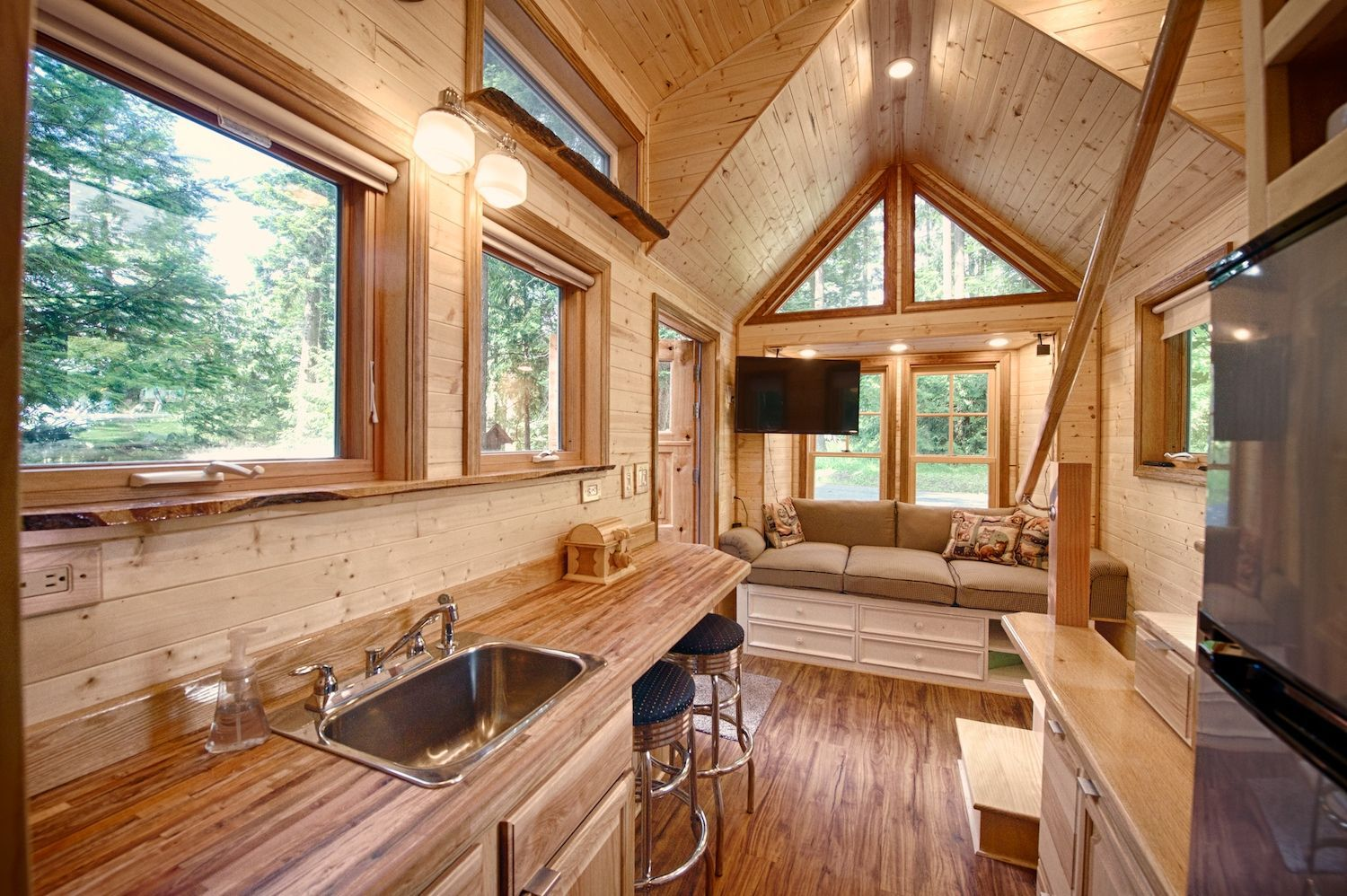 This Tiny Cottage On Wheels Has A Two-person Sauna Inside