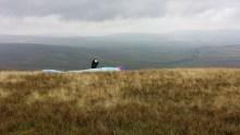 Paraglider setting up on Whernside