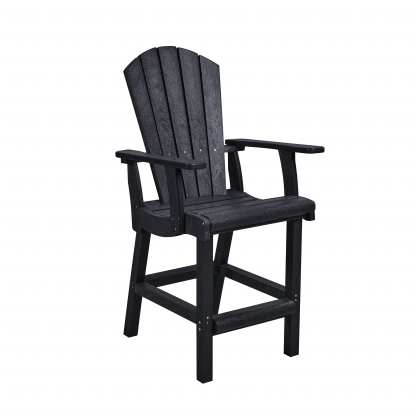 Recycled Plastic Classic Counter Arm Chair - Black