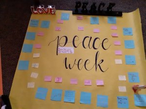 Student-created poster for Peace Week activities