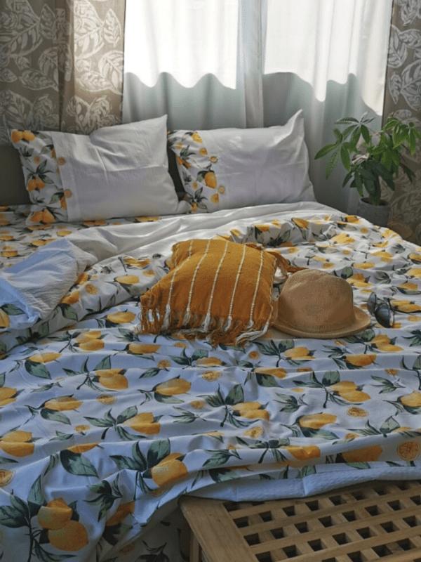 set de pat din bumbac percal grofat si imprimeu cu lamai