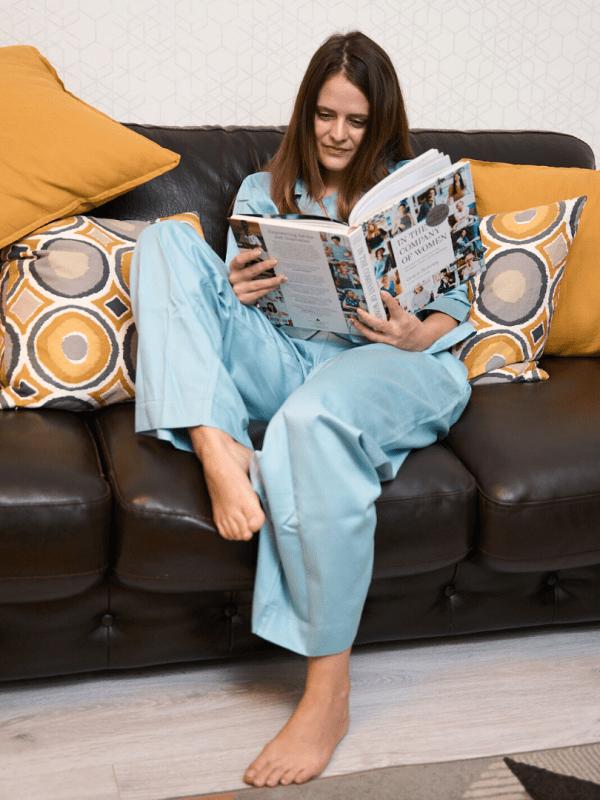 pijama din bumbac satinat turcoaz deschis5