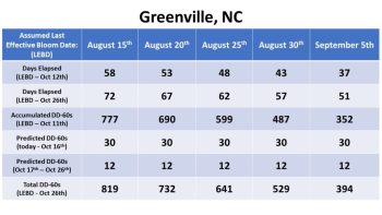 Bloom date chart for Greenville