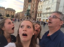 My dad decided to take this picture exemplifying our thoughts about the main square in Krakow.
