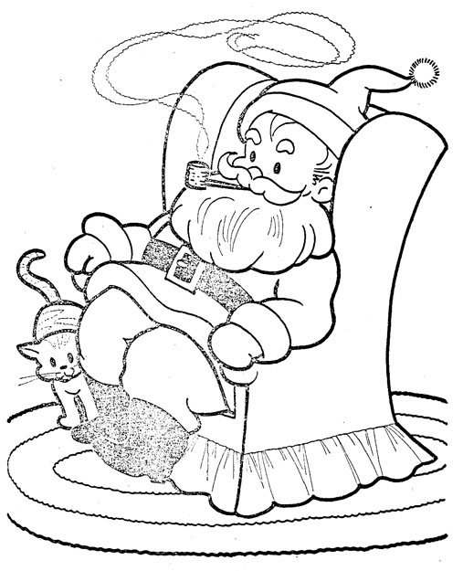 Santa all settled in his chair and a pretty frilled party