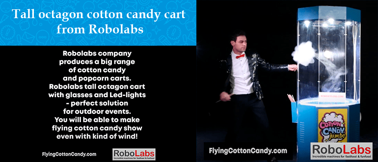 Tall octagon cotton candy cart from Robolabs