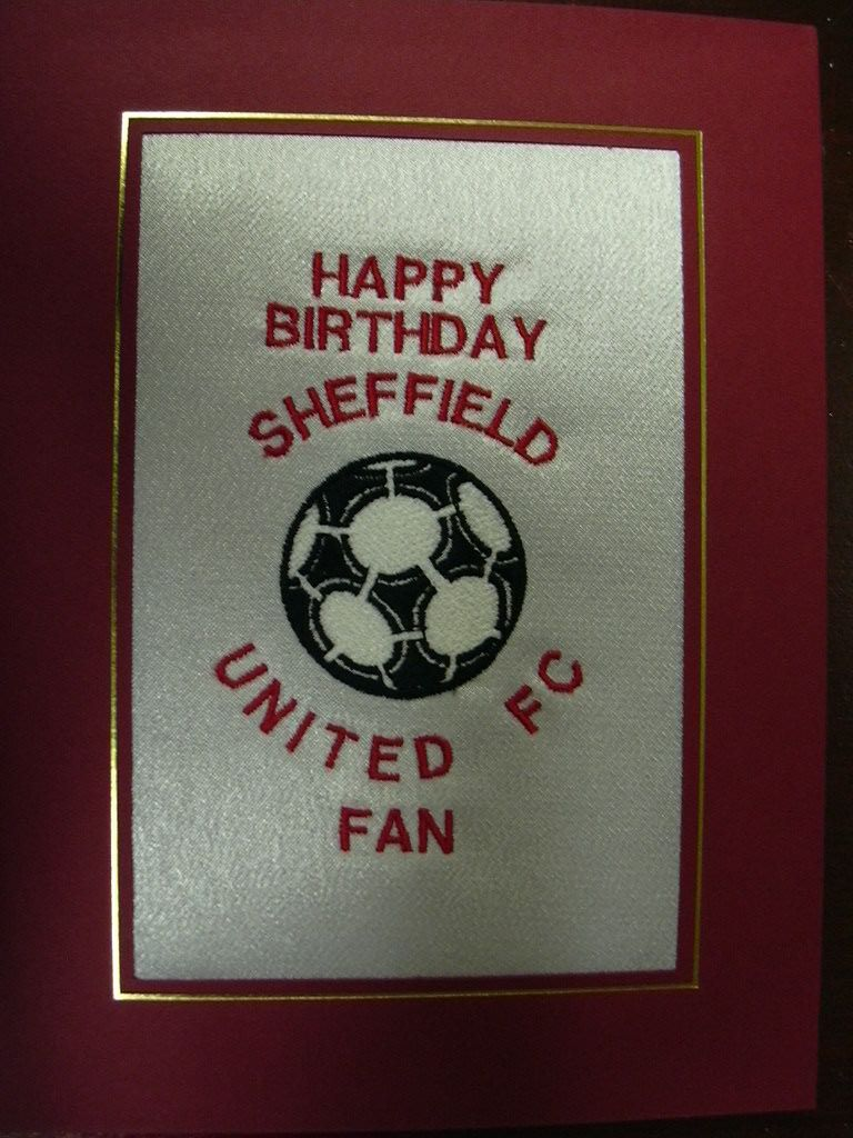 PERSONALISED EMBROIDERED SHEFFIELD UNITED FC CARD FOOTBALL
