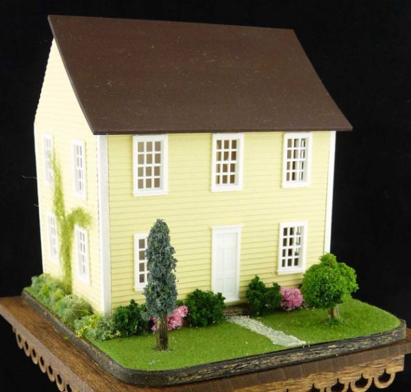 miniature landscaped dollhouse