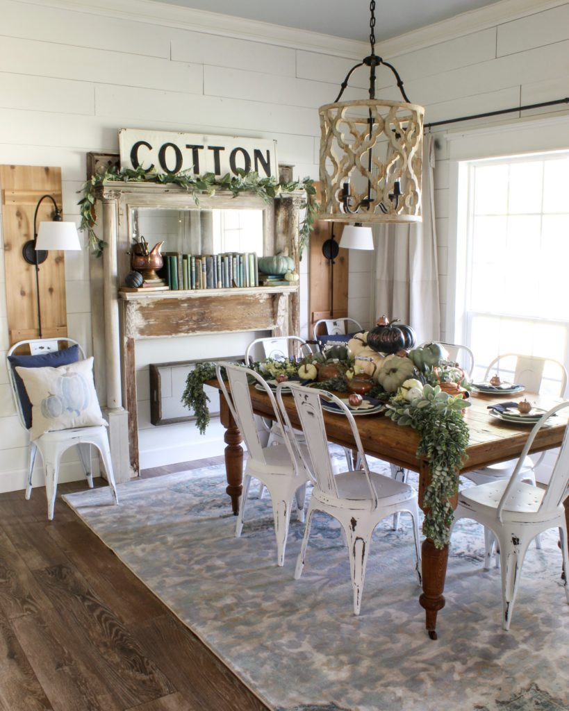 Sara elliott the dining room is your home's temple of elegance. Farmhouse Fall Dining Room Decor - Navy and Copper ...