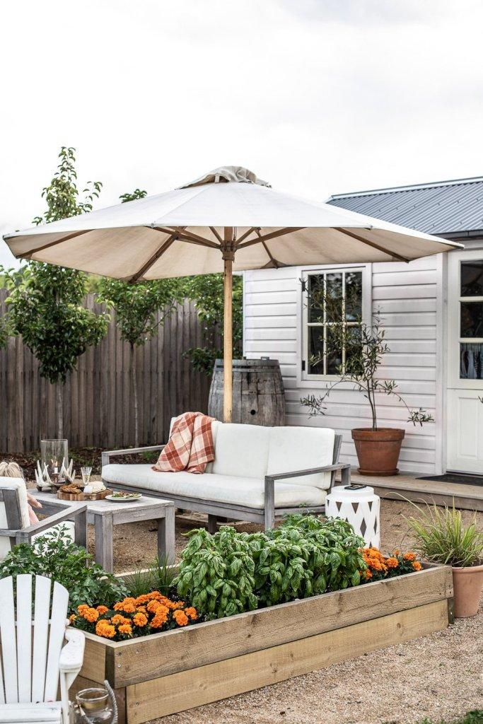 outdoor veggie garden and barn