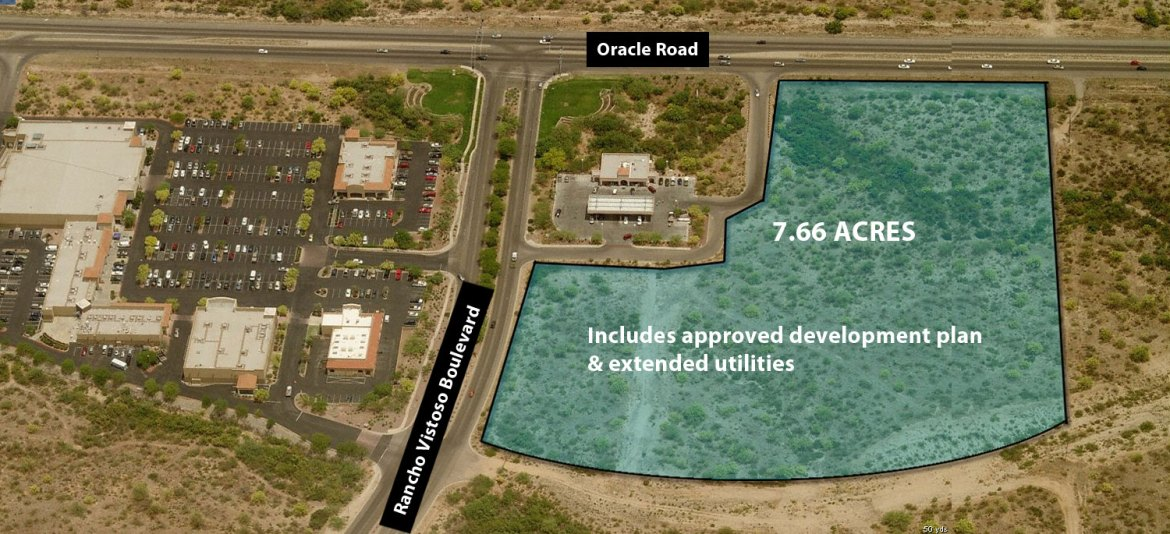7.66 acres of prime retail land at the entrance to Rancho Vistoso with an approved development plan and utilities to the parcel. Frontage on Oracle Road (with existing ingress and traffic light) and on Rancho Vistoso Boulevard. Pads or bulk sale opportunity.