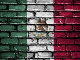 Mexico flag on brick wall