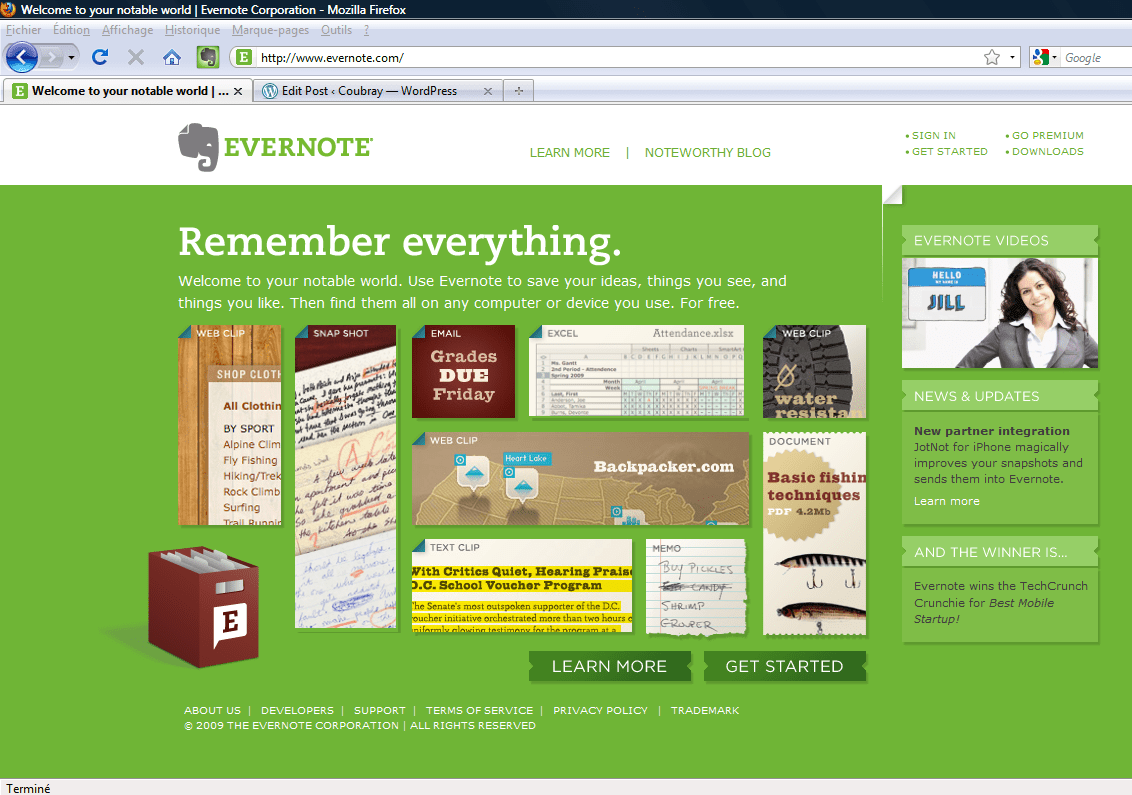 Home Page Evernote
