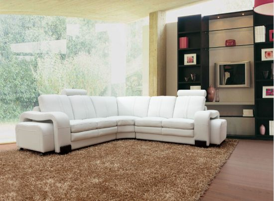 Light colored leather sofas
