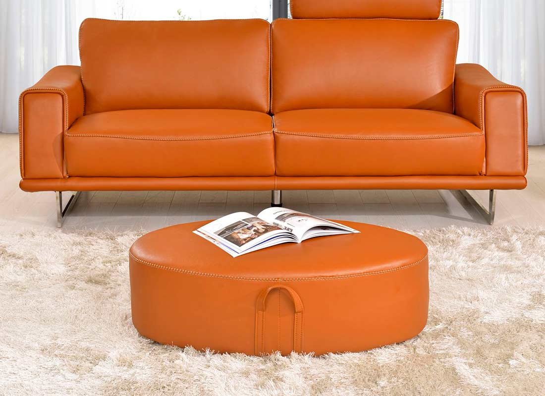 bright sofa how to make set covers orange leather sofas look with warm and