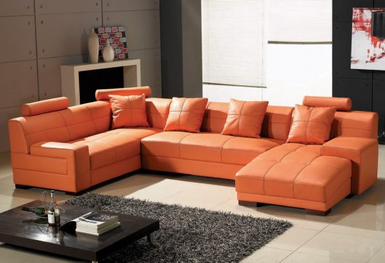 Orange Leather Sofas Bright Look With Warm And Comfortable Atmosphere Leather Sofas