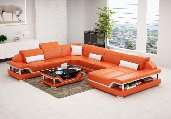 sofa covers for leather sectionals morpheus black microfiber bed orange sofas - bright look with warm and ...