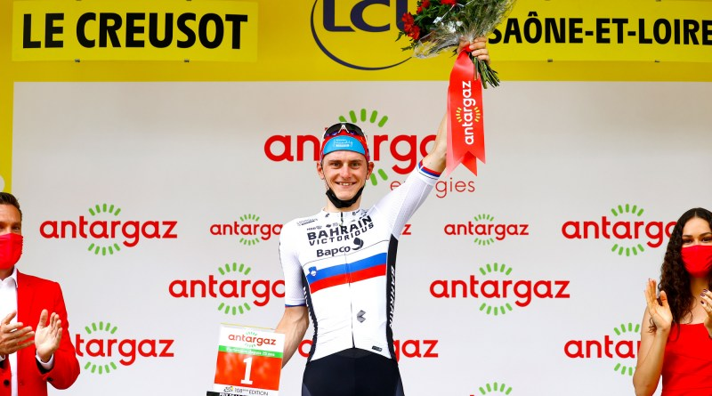 Matej Mohorič receives the Combativity prize after Stage 7 of the 2021 Tour de France, which he earned en route to his first Tour de France stage victory